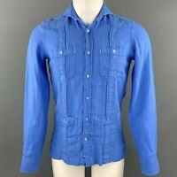 TRAFALGAR Size XS Blue Linen Button Up Long Sleeve Shirt