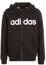 New Adidas Performance Essentials Black Tracksuit Hooded Zip Jumper Age 7-8 Y