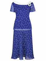 ex Jacques Vert Top & Skirt - Jacques Vert Blue Spotted Layer Skirt & Top Suit