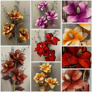 Large Artificial Flowers Bouquet Wedding Party Home Glitter VELVET 5 colours