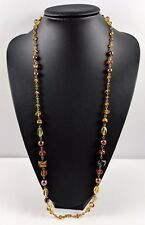 Vintage Single-Strand  Tiger Eye Glass Faux Pearl Assorted Beads Necklace