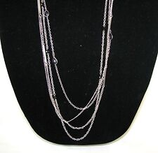 """NEW GUESS GOLD,SILVER TONE MULTI-CHAIN+GEM FANCY LONG 34"""" NECKLACE"""