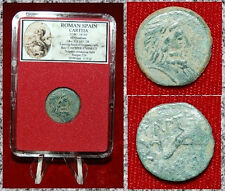 Ancient Coin Roman Spain CARTEIA Head Of Neptune On Obverse Dolphin Swimming