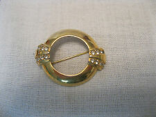 Avon Centennial 1886-1986 Goldtone Circle 16 Rhinestones Pin Brooch