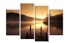 "Misty Lake Sunset Canvas Art Pictures 4 Panel Mist Wall Art Cascading Split 40"""