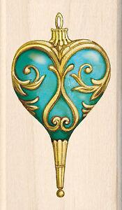 Christmas Heart Ornament Wood Mounted Rubber Stamp Inkadinkado Tim Coffey NEW