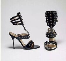 Black Dolce and Gabbana Gladiator Stiletto Spike Heels Sandals Size 9