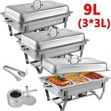 9L/3L*3 Multi Stainless Steel Bain Marie Chafing Dish Buffet Food Warmer AU