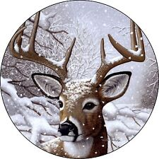 Deer # 4 Spare Tire Cover buck in snow Jeep RV Camper etc(all sizes available)