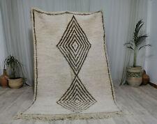 "Moroccan Handmade BeniOurain Wool Rug 5'x7'5"" Geometric Tribal Berber White Rug"