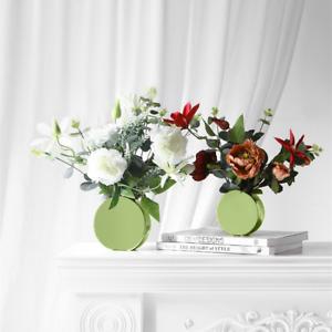 2PCs Simple Modern Plating Green Vase Flower Table Decor Ceramic Flower Vase