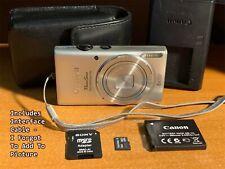 Canon PowerShot ELPH 115 IS 16.0MP Digital Camera - Silver w/Case & Card