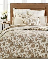 Martha Stewart Bedding Sketched Roses Flannel KING Duvet Cover Beige D5050