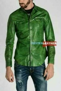 MEN'S Real Green Leather Military Style Shirt Full Sleeves Schrawz Jacket Cuir