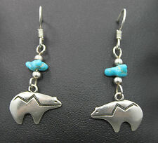 Native American Style Sterling Silver Earring Story Teller Bear with Turquoise