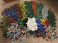 LOT OF 56 VINTAGE MARBLES From 1968-1975 Cats Eyes, Swirls, Puries, Solids