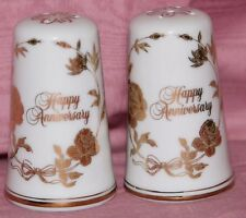 Norcrest Happy Anniversary Salt and Peper Shakers Gold design 50th