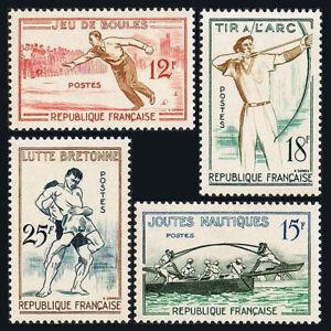 France 883-886, MNH. Bowling, Naval joust, Archery, Breton wrestling, 1958