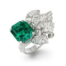 5ct Asscher Green Emerald Gemstone Leaf Baguette 14kt White Gold Plated Ring