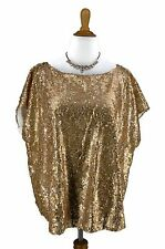 2X New WDNY Blouse Gold Swirly Sequin Evening New Years Top NWT WD NY