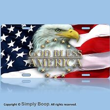 Patriotic Eagle USA God Bless America Aluminum Vanity License Plate Tag  New