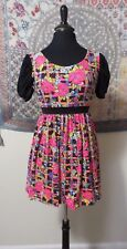 New York Couture Neon Retro PinUp Babydoll Dress sz S Floral Puff Sleeve PinUp