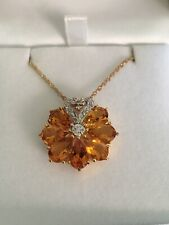 "Flower,Sunburst Citrine and Diamond Pendant Necklace on 18"" chain"