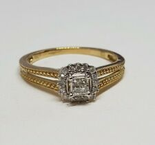 100% Genuine 10ct Yellow Gold Michael Hill Diamond Halo Promise/Engagement ring
