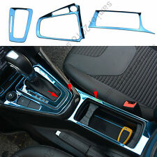 Fit For Ford Focus 15-17 Gearshift Panel+Cup Holder Frame Cover Trim - 3pcs Blue