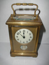 Fine Antique French Carriage Clock with porcelain woman portrait works fine