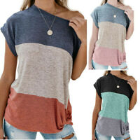 Summer Womens Striped Off-Shoulder Loose Short Sleeve T Shirt Baggy Tops Blouse