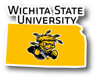 Wichita State Shockers WSU Vinyl Decal-NCAA State Shaped Sticker