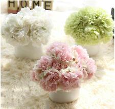 Artificial Fake Peony Silk Flower Bridal Bouquet Hydrangea Home Wedding Decor UK
