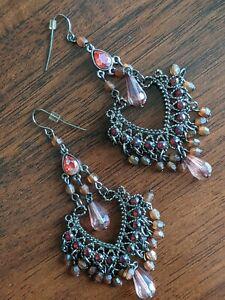 Gorgeous Pink Costume Dreamcatcher Fancy Hook Dangle Earrings