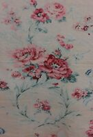 French Antique Printed Muted Roses & Ribbons Romantic Linen Textile Fabric c1920