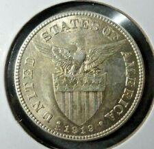1919 - S US / Philippines 50 Fifty Centavos Coin AU / UNC 1.2 Million Minted