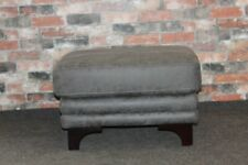 Cassius Grey Saddle Fabric Footstool (414)