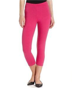 NWT Women's Hanes Cotton Capri Leggings Fuchsia Purple Pink Size S M & L