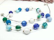 Leichte Halskette blau weiß smaragd Polariskette  NEU  schwebende Perlen Magnet