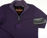 Robert Graham Men's Wool Sz Medium 1/4 Zip Elbow Patch Knit Sweater Pullover