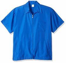 Shaving Factory Short Sleeve Water Resistant Full Zip Barber Jacket, Blue, Small