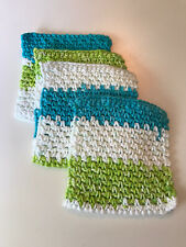 Handmade Cotton reusable dishcloth wipes, cloths towel washcloth set of 4
