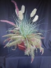 Coastal Floral Arrangement Ferns Pampas Grass Wooden Container Home Decor 36""