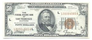 1929 San Francisco $50 Fifty Dollar Federal Reserve Ch. Almost Uncirculated AU+