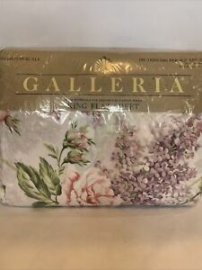 Vtg Cannon Galatia  King Flat  Sheet Floral Lilacs Rose Made in USA Cotton Poly