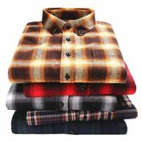 Men Flannel Plaid Shirt Collar Buckle Design Fashion Soft Comfort Long Sleeve