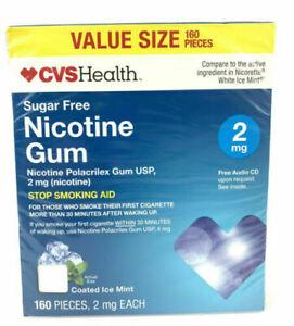 Nicotine Gum 2 MG Coated ICE MINT - Sugar Free Stop Smoking 160 PIECES Exp 8/20