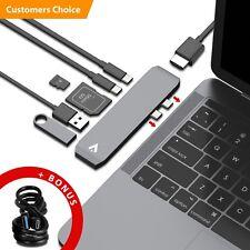 USB-C Hub Thunderbolt 3 USB 3.0 Type-C Adapter Card Reader Macbook Pro 7 in 1