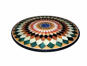 "Marble round 36"" Table semi precious multi stone handicraft floral inlay"