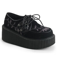 "DEMONIA CRE219/BVEL 3"" Platform Women's Black Embroidery Goth Punk Creeper Shoes"